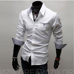 Wholesale Pengiriman gratis Hot Mens kemeja Baju kemeja pria Kasual pria Fit bergaya panjang lengan kemeja Size M XXXL