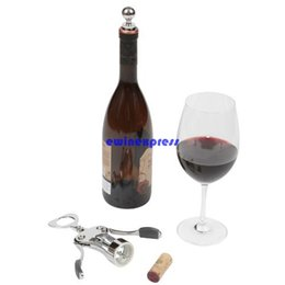 Wholesale New Luxury Zinc Alloy Wine bottle openers Corkscrew with Wine Stopper cap set Wedding Favors gift Kitchen Bar Party tools