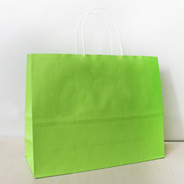 25*32*11cm Brilliant Green Paper Shopping Bag With Handle,130gsm Kraft Paper Bag, Can OEM Customized Printing Logo, Free Shipping