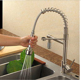 Deck Mounted Pull Out Kitchen Faucet Nickel Brushed Swivel Sink Mixer One Handle