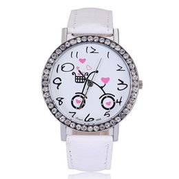 Wholesale New Fashion Quartz Watches Wristwatches Rhinestone Watches Leather Watches Bicycle Design Watches Analog Clock For Women