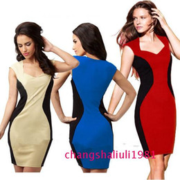 2014 new hot significant figure stitching V-neck dress elegance perfect package hip bottoming skirt dress