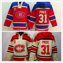Wholesale 2016 Old Time Montreal Canadiens Hockey Hoodie Carey Price Hoodie Red Authentic Heavyweight Carey Price Hockey Hood