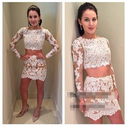 New Fashion Lace Two Pieces Short Homecoming Dresses Jewel Neck Lace Appliques Long Sleeves Sheath Cocktail Party Dress Custom Made