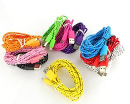 Wholesale New cm Nylon Braided Micro USB Cable Mobile Phone Cables Charging Cable For Samsung HTC LG etc Smart Phone free sipping