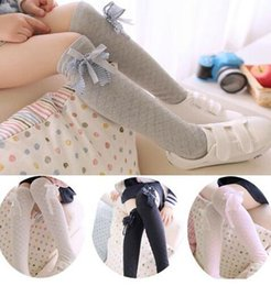 Wholesale 20pairs Bow style kids knee high socks for girls student high stockings princess long socks socks