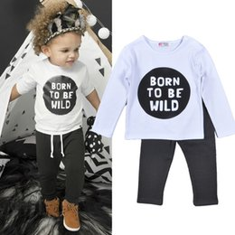 2016 Baby 2pcs sets boy girl Born To Be Wild printed outfit children spring fall long sleeve T-shirts + gray pants kids clothes