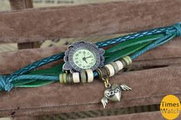vintage style watch New arrival Fashion vintage retro beaded braided rope bracelet wrap quartz cow leather wrist watch women