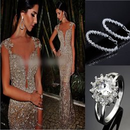 Wholesale Sparkling Sequin Evening Dresses Mermaid Shape See Through Short Sleeve Prom Dress Wiith Crystal Earrings And Ring Christmas Party Dres