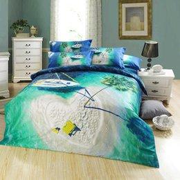 Diseñador que viaja escénica pintura al óleo ropa de cama ropa de cama de algodón egipcio reina tamaño 4 / 5pc consolador conjuntos con la impresión de árbol de barco desde escénico viaje fabricantes