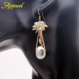 010 Natural pearl earrings luxury SWA crystal freshwater pearl dangle earrings real pearl drop earrings for women