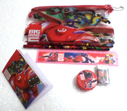 Wholesale 10 Sets Big Hero Stationery Set Pencil case Ruler Sharpener Eraser School Supplies Cartoon Girls Children Kid Favor Gift