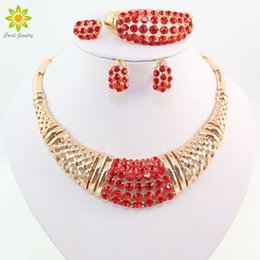 Wedding African Beads Jewelry Set 18K Gold Plated Fashion Party Bridal Rhinestone Necklace Earring Sets Bangle Ring Accessories