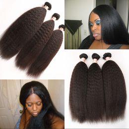 Top Grade Unprocessed Instock Weave Brazilian Kinky Straight Hair Extension 3pcs lot Coarse Yaki Virgin Hair Light Yaki straight hair G-EASY