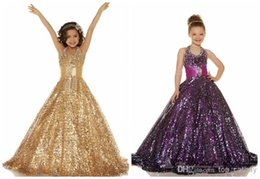 Wholesale 2016 Sexy Flower Girl Dresses Girls Pageant Dresses New Gold Purple Organza Beaded Halter Ball Gown Shiny Sequins Baby Party Gowns