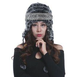 Fur Hats Woman Russian Women Winter Knit Fur Beret Natural Knitted Rex Rabbit Fur Hats Winter genuine Women's warm hat with fox fur flower