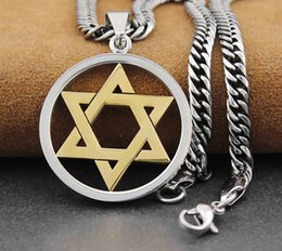 Wholesale Love Tone - Star Of David Judaism Men's Stainless Steel Pendant Necklace Tow Tone
