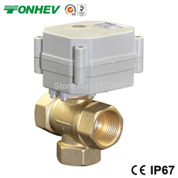 Wholesale T port vertical type DN20 Way DC5V electric actuator motorized ball valves