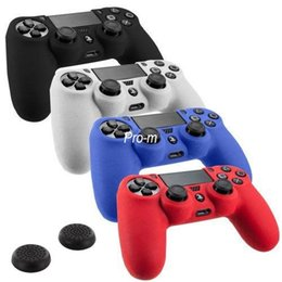 Peau de silicone Housse de protection Case Skin 2 pcs Thumb + Pour Sony Playstation 4 PS4 4 Dualshock Controller à partir de contrôleur ps4 couvercle du boîtier fabricateur