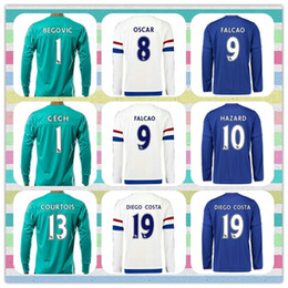 Wholesale New Product Chelsea thai Courtois Hazard PEDRO Chelseafc Soccer Jersey Goalkeeper White light Blue Green Long Sleeve Full