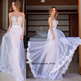 Wholesale Sexy Sticky Bust Sweetheart Backless with Appliques Sash Floor Length Tulle Wedding Dress Vestido