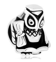 MYD Jewelry Graduation Owl Bead In Rhodium Silver Color Plating Lucky European Charm Fit Pandora Bracelet