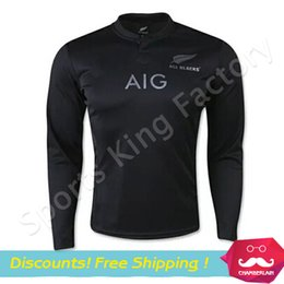 Wholesale Rugby New Zealand world cup jerseys long sleeved Football Wear black All Blacks rugby jersey Best Quality Training Wear shirts
