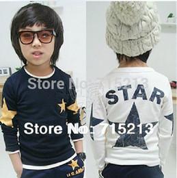 Free Shipping 2014 spring five-pointed star boys clothing girls clothing child long-sleeve T-shirt basic shirt