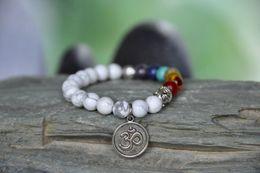 Wholesale SN0185 Patience Mala bracelet Buddha Bracelet Howlite Chakra Lotus flower Bracelet OM yoga bracelet mala prayer