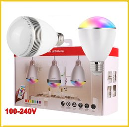 Wholesale 3 set E27 LED Light Bulb Audio Bluetooth Speaker Bulb Lighting App Controll by IOS Smartphone RGB Colorful Music Playing