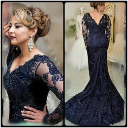 Gorgeous Navy Blue Fishtail Evening Dress Long Sleeve Robe De Soiree 2016 V Neck Gowns Applique Beaded Mother Of The Bride Dress