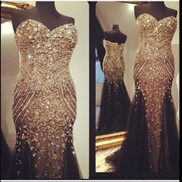 Wholesale Real Buyer Show Bling Bling Rhinestone Pageant Party Prom Dresses Black Sweetheart Special Occasion Gown Fully Beaded Dress Evening Wear