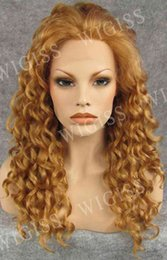 Wholesale 20 inch Front Lace Female Glamorous Charming Fashion Long Curly Deep Wave Kanekalon Fiber Synthetic Women Wig Hair g HR H3003FL6F