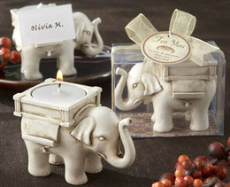 Wholesale 200PCS New Lucky Elephant Antique Ivory Candle Holder with card for Wedding favors Best gifts for guests