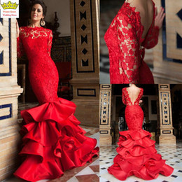 Red Full Lace Evening Dresses 2016 Jewel Long Sleeve Ruffles Mermaid Special Prom Dress Backless Hot Party Dress Custom made
