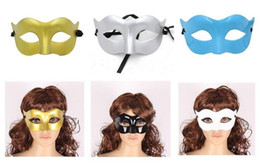 Mask Men monochrome mask masquerade party half face a simple fashion Halloween mask Venice Christmas mask gifts 6colors DHL 500PCS