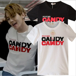 Wholesale 2016 EXO BaekHyun Call me baby MV Fashion New Cool Psycho Candy Short sleeve Lover T shirt Tee For Men Women