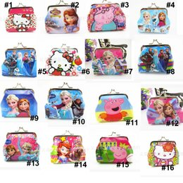 Wholesale 54 styles new Frozen peppa Sofia Princess Coin Purse with iron button shell bag D Cartoon wallet Purses Minions children Gifts