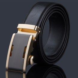 Wholesale Whoesale mens leather automatic buckle belt for business men belts auto metal buckle belt black man belt in stock