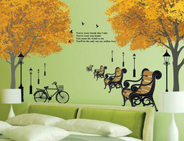 Wholesale Street Lamp Chair Maple Wall Sticker Wall Decal Bicycle Wall Paper Free shiping vinyl maple tree sticker room decoration