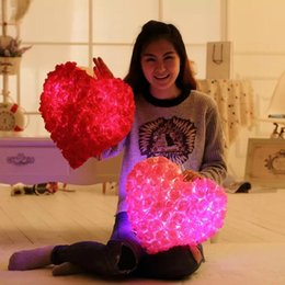Wholesale-Free Shipping 33*36CM rose petals Luminious colorful light pillow,girls birthday,valentine's day gift, family decorates pillow