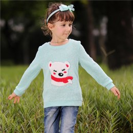 Pettigirl Spring and Autumn Baby Girls Sweater Only Children Light Blue Tops With Bear Pattern Kids Full Sleeves Clothes SW80722-7W