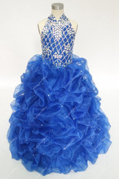 Vintage Royal Blue Flower Girls Dresses For Weddings With Rhinestones Beaded High Neck Ruffles Teens Pageant Ball Gowns In Stock Cheap