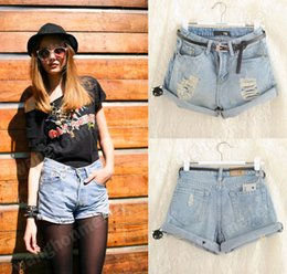 Wholesale S Retro Women Girls Light Blue High Waist Flange Hole Wash Jeans Denim Shorts