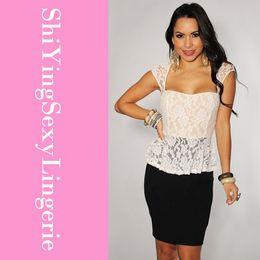 White Lace Black Contrast Luxurious cheap Keyhole Back Women Sleeveless Mini Peplum Dress Free Shipping