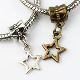 Wholesale 9 x22 mm Antique Silver Bronze Small Open Star Charm Alloy Metal Big Hole Beads Dangle Fit European Bracelets Jewelry DIY B138