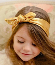 2016 Kids Girls rabbit ear Headwrap Baby girl Cotton Headbands Metallic Bow Belt infant babies fashion hairbands lovely hair accessories