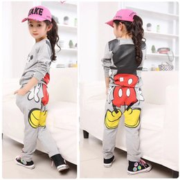 Wholesale New Baby Girls Kids Mickey Minnie Tops Hoodies Pants Sportwear Tracksuit Outfits for Y