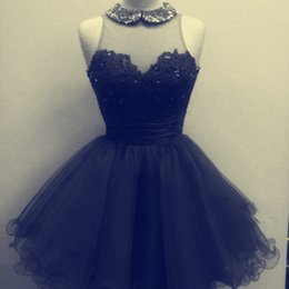 Lovely Black Tulle A Line Short Cocktail Dresses Beaded Collar Illusion Neckline Sleeveless Lace Appliques Tulle Party Formal Wear