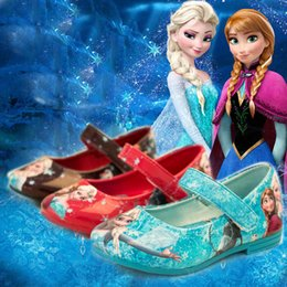 1pair lot Hot sell frozen elsa & anna flat shoes children Casual Shoes kids Footwear girl princess shoes blue Free Shipping